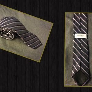 Calvin Klein Charcoal gray striped tie